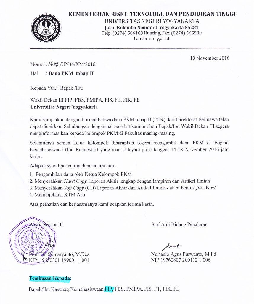 Pencairan dana PKM Tahap 2